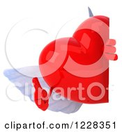 Clipart Of A 3d Thmb Up Red Winged Heart Looking Around A Sign Royalty Free Illustration by Julos