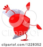 Clipart Of A 3d Cartwheeling Red Winged Heart Royalty Free Illustration by Julos