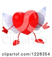 Clipart Of A 3d Shrugging Red Winged Heart Royalty Free Illustration by Julos