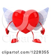Clipart Of A 3d Red Winged Heart Royalty Free Illustration