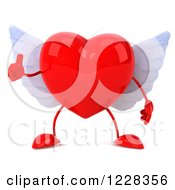 Clipart Of A 3d Thumb Up Red Winged Heart Royalty Free Illustration by Julos