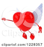 Clipart Of A 3d Flying Red Winged Heart Royalty Free Illustration by Julos