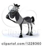 Clipart Of A 3d Black Horse Using A Magnifying Glass 2 Royalty Free Illustration