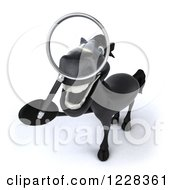Clipart Of A 3d Black Horse Using A Magnifying Glass Royalty Free Illustration