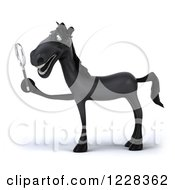 Clipart Of A 3d Black Horse Using A Magnifying Glass 3 Royalty Free Illustration