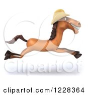 Clipart Of A 3d Running Horse Wearing A Cowboy Hat Royalty Free Illustration