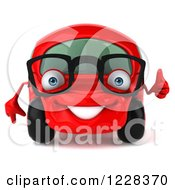 Clipart Of A 3d Bespectacled Red Compact Car Holding A Thumb Up Royalty Free Illustration
