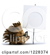 Clipart Of A 3d Bespectacled Hedgehog Facing Right By A Sign Royalty Free Illustration by Julos