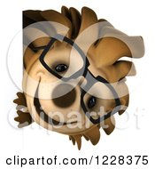 Clipart Of A 3d Happy Bespectacled Hedgehog Looking Around A Sign Royalty Free Illustration by Julos