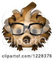 Clipart Of A 3d Happy Bespectacled Hedgehog Over A Sign Royalty Free Illustration by Julos