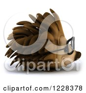 Clipart Of A 3d Happy Bespectacled Hedgehog Facing Right Royalty Free Illustration by Julos