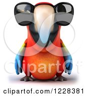 Clipart Of A 3d Macaw Parrot Wearing Sunglasses Royalty Free Illustration