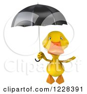 Clipart Of A 3d Yellow Duck Flying With An Umbrella Royalty Free Illustration