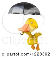 Clipart Of A 3d Yellow Duck Flying With An Umbrella 2 Royalty Free Illustration