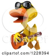 3d Flying Yellow Duck Wearing Sunglasses And Playing A Guitar