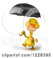 3d Yellow Duck Walking With An Umbrella