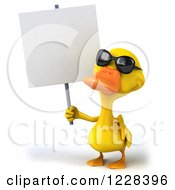 3d Yellow Duck Wearing Sunglasses And Holding A Sign