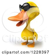 3d Yellow Duck Wearing Sunglasses And Facing Left
