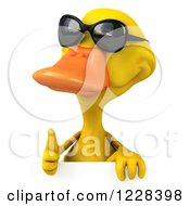 Clipart Of A 3d Thumb Up Yellow Duck Wearing Sunglasses Over A Sign Royalty Free Illustration