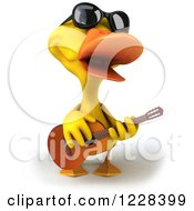 3d Yellow Duck Wearing Sunglasses And Playing A Guitar