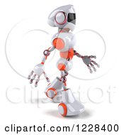 Clipart Of A 3d White And Orange Male Techno Robot Walking To The Right Royalty Free Illustration