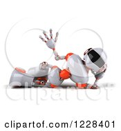Clipart Of A 3d Relaxed And Waving White And Orange Male Techno Robot Royalty Free Illustration