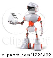 Clipart Of A 3d White And Orange Male Techno Robot Holding A Cloud 2 Royalty Free Illustration
