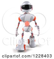 Clipart Of A 3d White And Orange Male Techno Robot Walking Forward Royalty Free Illustration