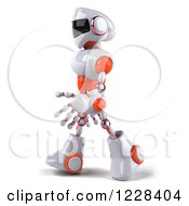 Clipart Of A 3d White And Orange Male Techno Robot Walking To The Left Royalty Free Illustration