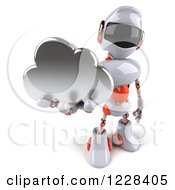 Clipart Of A 3d White And Orange Male Techno Robot Holding A Cloud Royalty Free Illustration
