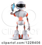 Clipart Of A 3d White And Orange Male Techno Robot Talking On A Smart Phone Royalty Free Illustration
