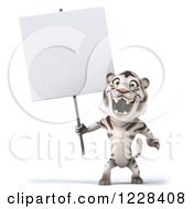 Clipart Of A 3d White Tiger Mascot Roaring And Holding A Sign Royalty Free Illustration