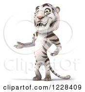 Clipart Of A 3d White Tiger Mascot Standing And Presenting Royalty Free Illustration