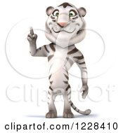 Clipart Of A 3d White Tiger Mascot Pointing Up Royalty Free Illustration
