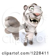 Clipart Of A 3d White Tiger Mascot Giving A Thumb Down Royalty Free Illustration