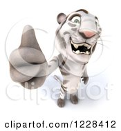 Clipart Of A 3d White Tiger Mascot Giving A Thumb Up Royalty Free Illustration