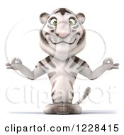 Clipart Of A 3d White Tiger Mascot Meditating Royalty Free Illustration
