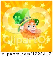 Clipart Of A Happy St Patricks Day Leprechaun Over A Star Burst Royalty Free Vector Illustration by AtStockIllustration