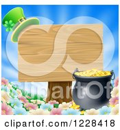 Clipart Of A St Patricks Day Leprechaun Hat On A Wooden Sign Over A Pot Of Gold And Flowers Royalty Free Vector Illustration by AtStockIllustration