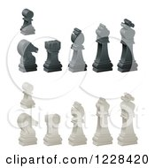 Clipart Of 3d Ebony And Ivory Chess Pieces Royalty Free Vector Illustration