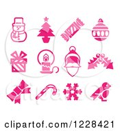 Clipart Of Pink Christmas Item Icons Royalty Free Vector Illustration by AtStockIllustration