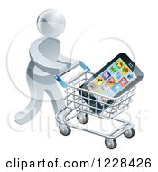 Clipart Of A 3d Silver Man Pushing A Smart Phone In A Shopping Cart Royalty Free Vector Illustration