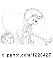 Clipart Of An Outlined Boy Using A Canister Vacuum Royalty Free Vector Illustration by Alex Bannykh