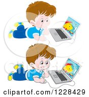 Clipart Of Boys Using Laptops On The Floor Royalty Free Vector Illustration
