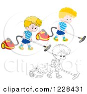 Clipart Of Outlined And Colored Boys Using Canister Vacuums Royalty Free Vector Illustration by Alex Bannykh