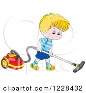 Clipart Of A Blond Boy Using A Canister Vacuum Royalty Free Vector Illustration