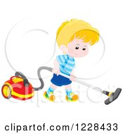 Clipart Of A Blond Caucasian Boy Using A Canister Vacuum Royalty Free Vector Illustration by Alex Bannykh