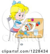 Clipart Of A Happy Blond Girl Painting An Easter Egg Royalty Free Vector Illustration by Alex Bannykh