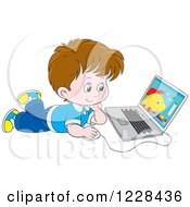 Clipart Of A Brunette Caucasian Boy Using A Laptop On The Floor Royalty Free Vector Illustration by Alex Bannykh
