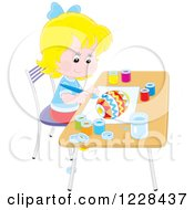 Clipart Of A Blond Girl Painting An Easter Egg Royalty Free Vector Illustration